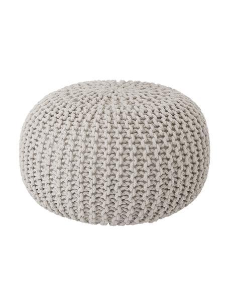 Pouf a maglia fatto a mano Dori, Rivestimento: 100% cotone, Beige, Ø 55 x Alt. 35 cm