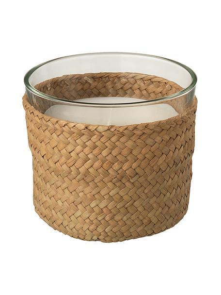 Candela profumata Zanzibar (legno, salvia, sale marino), Contenitore: vetro, Rivestimento: canna, Marrone, trasparente, Ø 11 x Alt. 10 cm