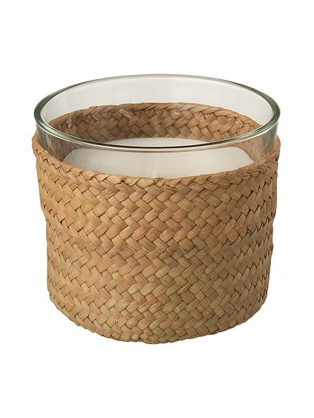 Geurkaars Zanzibar (hout, salie, zeezout), Houder: glas, Bekleding: riet, Bruin, transaparant, Ø 11 x H 10 cm