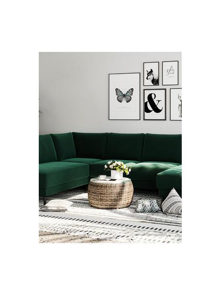 Sofa narożna XL z aksamitu Fynn, Tapicerka: 100% aksamit poliestrowy, Stelaż: drewno liściaste, drewno , Nogi: drewno lakierowane Dzięki, Ciemny zielony, S 306 x G 200 cm