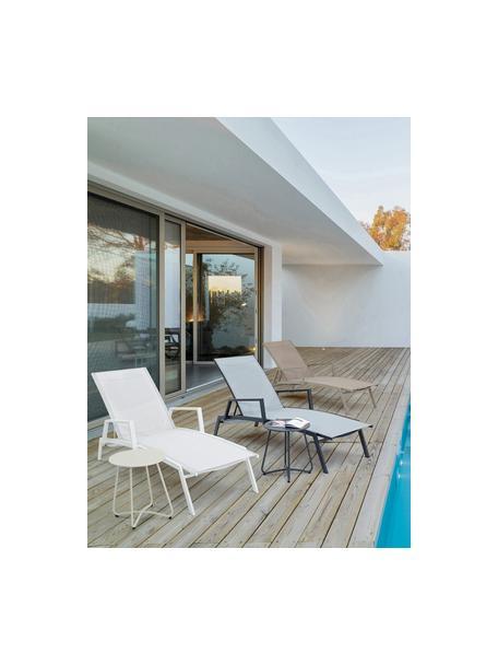 Mesa auxiliar de exterior de metal Wissant, Acero con pintura en polvo, Blanco, Ø 40 x Al 45 cm