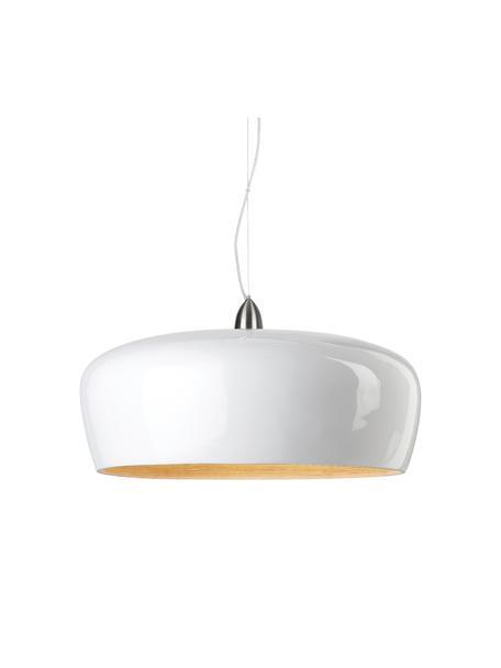 Lámpara de techo grande de bambú Hanoi, Pantalla: bambú pintado, Anclaje: metal, Cable: plástico, Blanco, Ø 60 x Al 25 cm