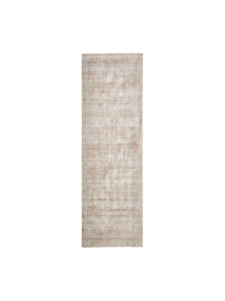 Handgeweven viscose loper Jane in beige, Bovenzijde: 100% viscose, Onderzijde: 100% katoen, Beige, 80 x 250 cm