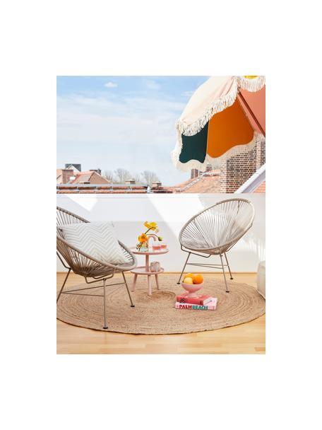 Loungefauteuil Bahia uit kunstvlechtwerk, Zitvlak: kunststof, Frame: gepoedercoat metaal, Taupe, B 81 x D 73 cm