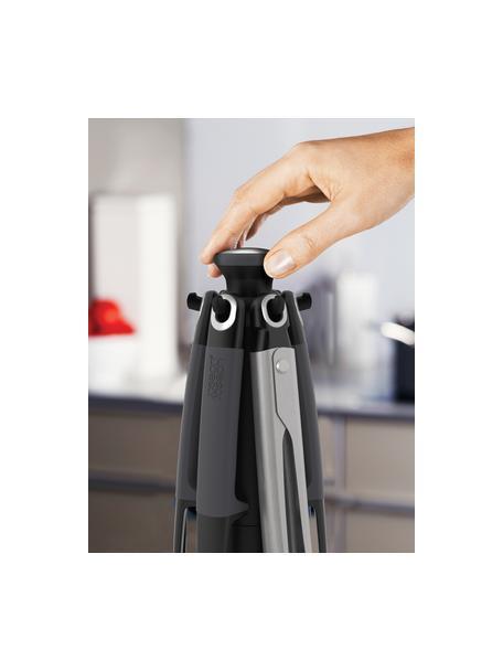 Küchenutensilien Elevate mit Ständer, 6er-Set, Gehärtetes Nylon, Silikon, Dunkelgrau, Silberfarben, Ø 16 x H 36 cm