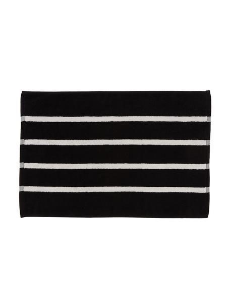 Gestreepte badmat Menton, 100% katoen, Zwart, wit, 50 x 75 cm