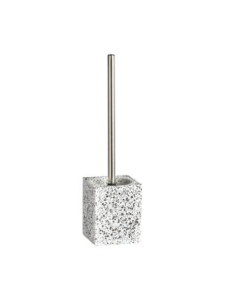 WC-borstel Terrazzo van kunststof, Houder: polyresin, Zwart, wit, Ø 10 x H 38 cm