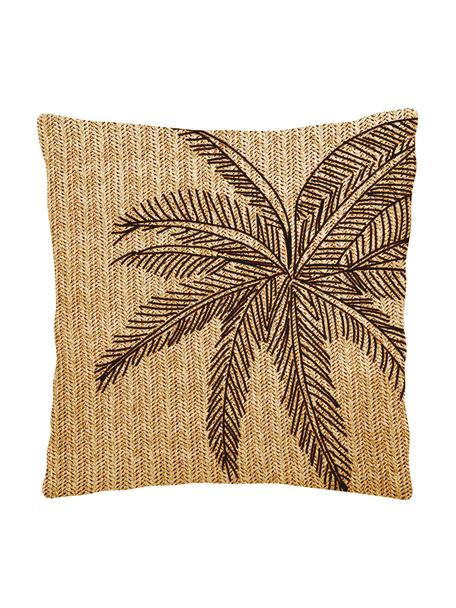 Cuscino da esterno con motivo tropicale e imbottitura Knitted, Rivestimento: 85% polipropilene, 15% ny, Beige, nero, Larg. 43 x Lung. 43 cm
