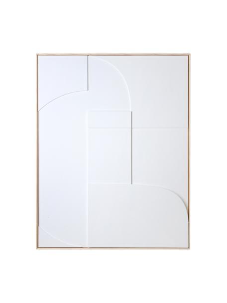 Wandobjekt Rahmenrelief-Kunsttafel Amido, Rahmen: Eschenholz, Weiß, Hellbraun, 63 x 83 cm