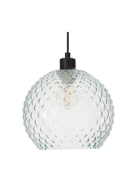 Kleine hanglamp Rania van lichtblauw glas, Lampenkap: glas, Baldakijn: gepoedercoat metaal, Decoratie: gepoedercoat metaal, Blauw, transparant, Ø 25 x H 21 cm