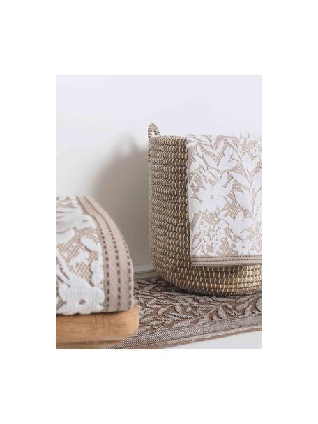 Handdoek Matiss in verschillende formaten, met hoog-laag patroon met bloemen, Katoen, middelzware kwaliteit, 550 g/m², Wit, taupe, Gastendoekje