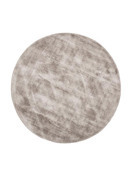 Tappeto rotondo in viscosa color taupe tessuto a mano Jane, Retro: 100% cotone, Taupe, Ø 120 cm (taglia S)