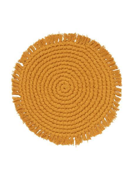 Ronde placemat Vera met franjes, 100% katoen, Mosterdgeel, Ø 38 cm
