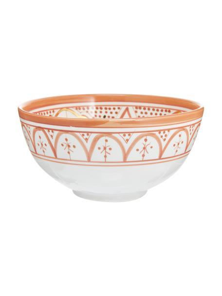 Handgemaakte Marokkaanse saladeschaal Couleur met goudkleurige details, Ø 25 cm, Keramiek, Oranje, crèmekleurig, goudkleurig, Ø 25 x H 12 cm