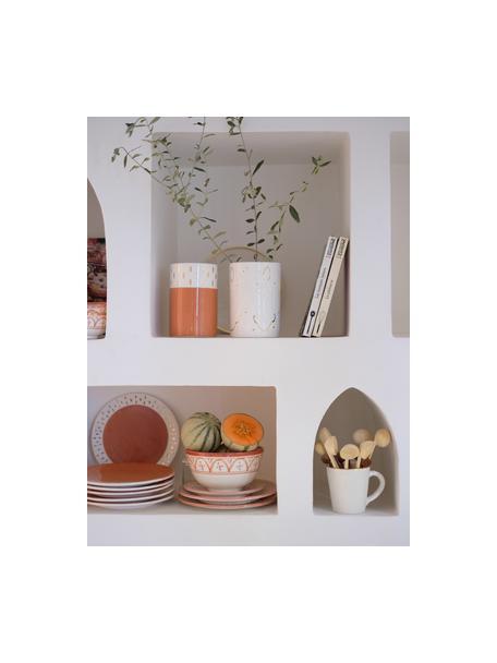 Insalatiera fatta a mano stile marocchino con dettagli dorati Couleur, Ø 25 cm, Ceramica, Arancione, color crema, oro, Ø 25 x Alt. 12 cm