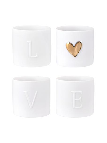 Set de portavelas de porcelana Love, 4uds., Porcelana, Blanco, dorado, Ø 5 x Al 5 cm