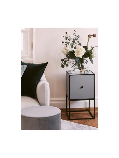 Comodino di design Frame, Struttura e cornice: nero Corpo: grigio scuro, Larg. 35 x Alt. 63 cm
