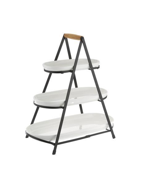 Fuente 3 pisos de porcelana Tower, con las bandejas extríbles, Bandejas: porcelana, Estructura: metal, Blanco, negro, madera, An 50 x Al 55 cm