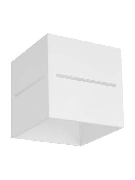 Kleine wandlamp Lorum in wit, Lampenkap: aluminium, Wit, 10 x 10 cm