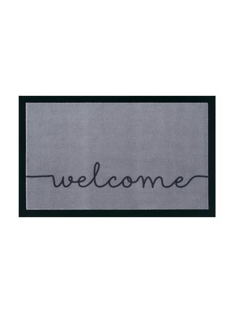 Fußmatte Cozy Welcome, Oberseite: 100% Polyamid, Unterseite: Gummi, Grau, Schwarz, 45 x 75 cm