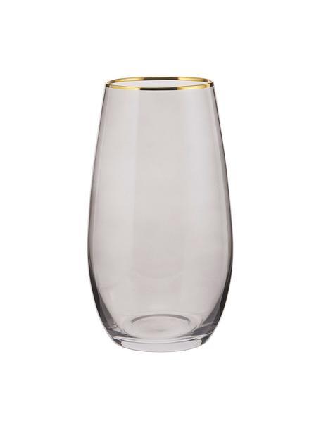 Hoge glazen Chloe in grijsblauw met goudkleurige rand, 4 stuks, Glas, Grijsblauw, Ø 9 x H 16 cm