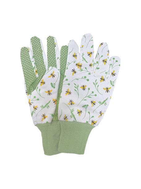 Gartenhandschuhe Bee, 80% Baumwolle, 20% Polyester, Weiß, Grün, Mehrfarbig, 11 x 23 cm