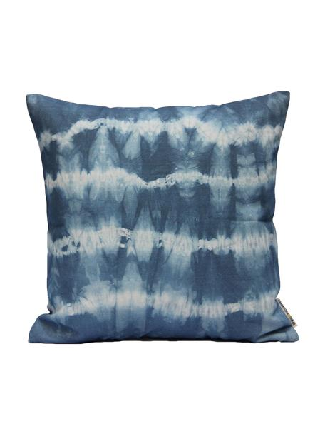 Kissenhülle Victoria mit Batikprint, 100% Baumwolle, Weiss, Blau, 40 x 40 cm