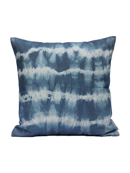 Kussenhoes Victoria met batik print, Katoen, Wit, blauw, 40 x 40 cm