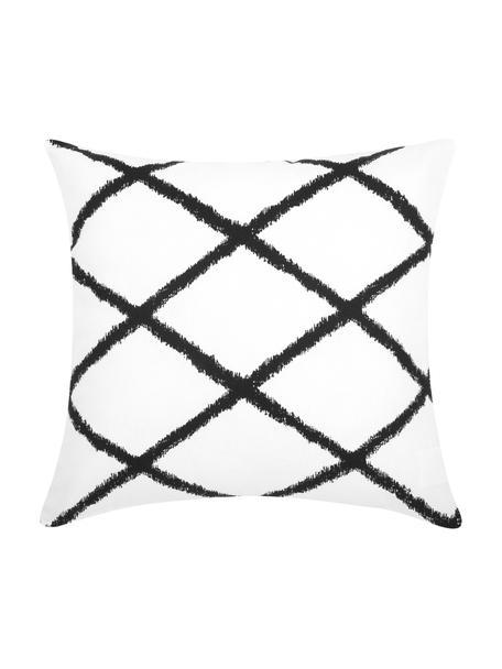 Kussenhoes Laila met ruitjesmotief, 100% katoen, Wit, zwart, 45 x 45 cm