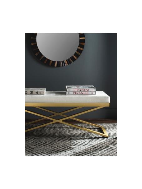 Ławka ze sztucznej skóry  Susan, Stelaż: stal lakierowana, Biały, odcienie złotego, S 109 x W 46 cm