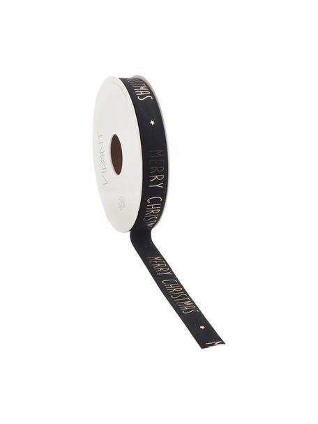 Geschenkband Vellu, 50% Polyester, 40% Rayon, 10% Haftmittel, Schwarz, Goldfarben, 2 x 500 cm