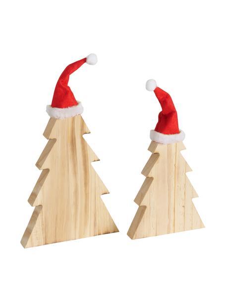 Deko-Bäume Fynna aus Holz, 2 Stück, Kiefernholz, Braun, Rot, Weiß, Set mit verschiedenen Größen