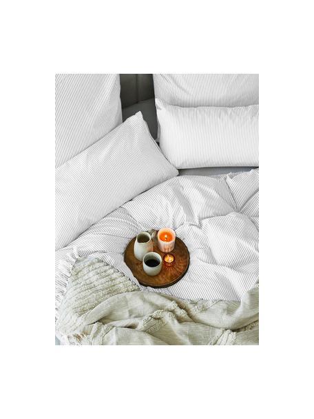 Funda nórdica de algodón Ellie, Blanco, gris, Cama 90 cm (150 x 200 cm)