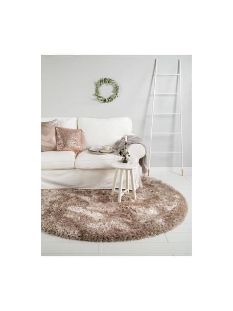 Glanzend hoogpolig vloerkleed Lea in beige, rond, Bovenzijde: 50% polyester, 50% polypr, Onderzijde: 100% jute, Beige, Ø 120 cm (maat S)