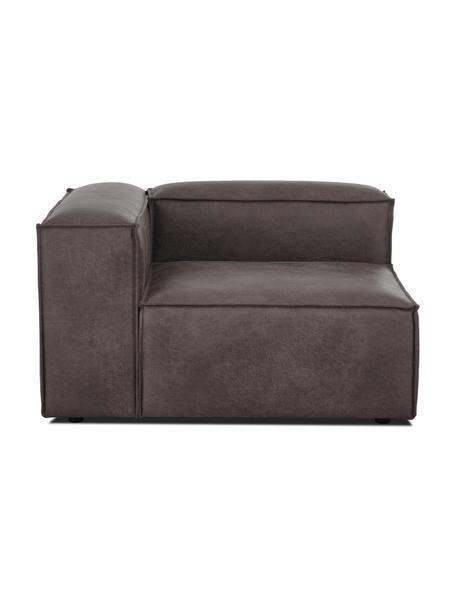 Módulo de esquina sofá de cuero reciclado Lennon, Tapizado: cuero reciclado (70%cuer, Estructura: madera de pino maciza, ma, Patas: plástico Las patas están , Cuero gris topo, An 119 x F 119 cm