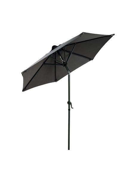 Schwarzer Sonnenschirm Siesta mit Kurbel, abknickbar, Gestell: Aluminium, beschichtet, Bezug: Polyester, Anthrazit, Schwarz, Ø 180 x H 200 cm