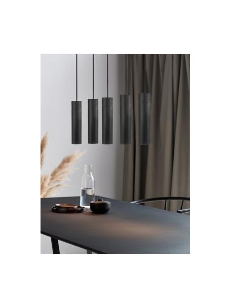 Grote hanglamp Tilo in zwart-goudkleur met houten decoratie, Lampenkap: gecoat metaal, Decoratie: hout, Baldakijn: gecoat metaal, Zwart, B 81 cm