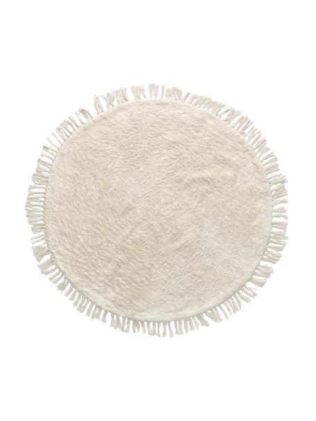 Rond katoenen vloerkleed Orwen met franjes, 100% katoen, Wit, Ø 100 cm (maat XS)