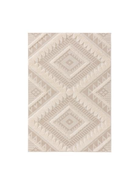 Alfombra texturizada de interior/exterior Carlo, estilo étnico, 100%polietileno, Beige, crema, An 80 x L 150 cm (Tamaño XS)