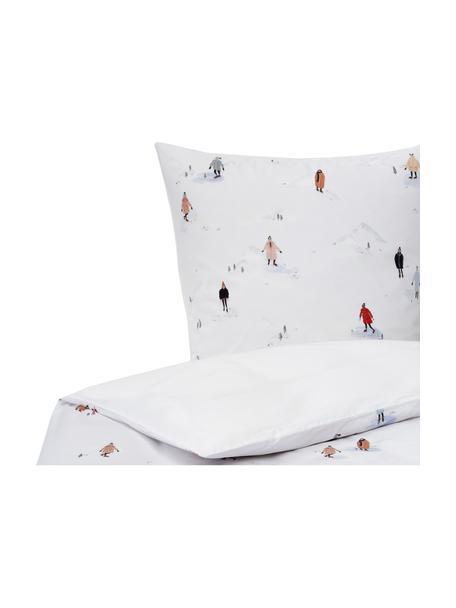 Designer Perkal-Bettwäsche Ice Skater aus Bio-Baumwolle von Candice Gray, Webart: Perkal Fadendichte 180 TC, Mehrfarbig, 135 x 200 cm + 1 Kissen 80 x 80 cm