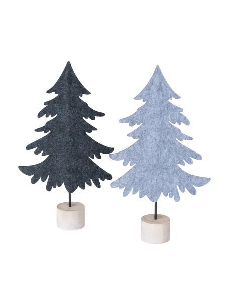 Deko-Bäume Bento aus Filz H 30 cm, 2 Stück, Sockel: Holz, Mehrfarbig, 17 x 30 cm