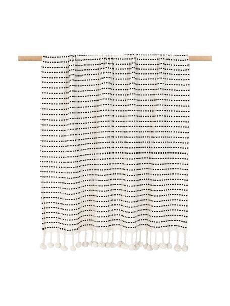 Baumwolldecke Molly im Streifendesign mit Pompoms, 100% Baumwolle, Schwarz, Beige, 130 x 170 cm