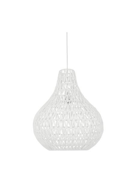 Lampa wisząca z tkaniny Cable Drop, Biały, Ø 45 x W 51 cm