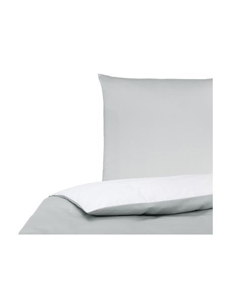 Baumwollsatin-Wendebettwäsche Julia in Grau/Weiß, Webart: Satin Fadendichte 250 TC,, Weiß, Hellgrau, 135 x 200 cm + 1 Kissen 80 x 80 cm