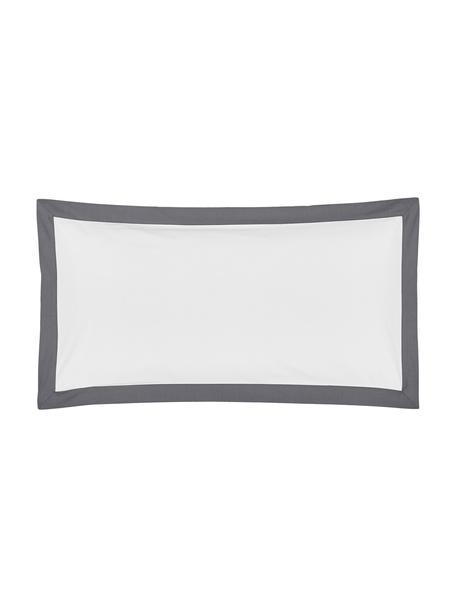 Baumwollperkal-Kissenbezüge Joanna in Weiß mit grauem Stehsaum, 2 Stück, Webart: Perkal Fadendichte 200 TC, Weiß, Grau, 40 x 80 cm
