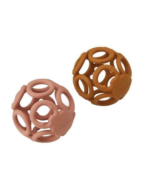 Bijtringenset Jasmin, 2-delig, 100% siliconen, Roze, oranje, Ø 9 cm