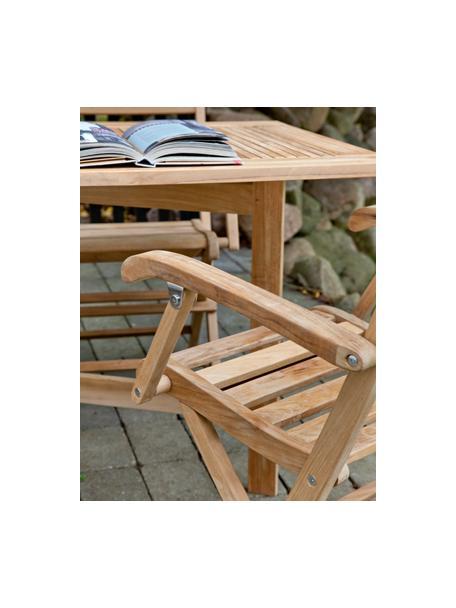 Silla con reposabrazos para exterior de madera York, Madera de teca lijada, Teca, An 51 x Al 86 cm
