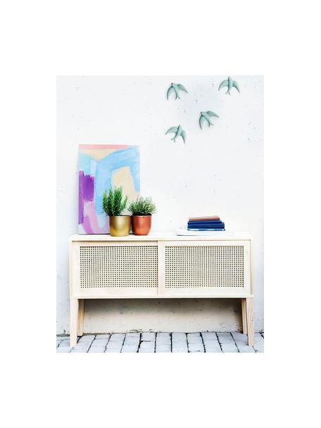 Set de decoración de pared Swallows, 2pzas., Porcelana, Azul claro, An 11 x Al 11 cm