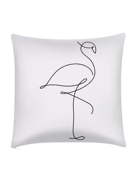 Kussenhoes Filomina met abstracte One Line tekening, 100% katoen, Wit, zwart, 40 x 40 cm