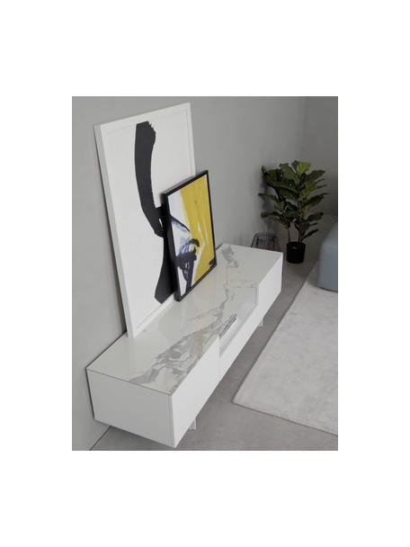 Mueble de TV Fione, con tablero en efecto mármol, Estructura: tablero de fibras de dens, Patas: metal con pintura en polv, Estante: cerámica, Blanco, An 160 x Al 46 cm